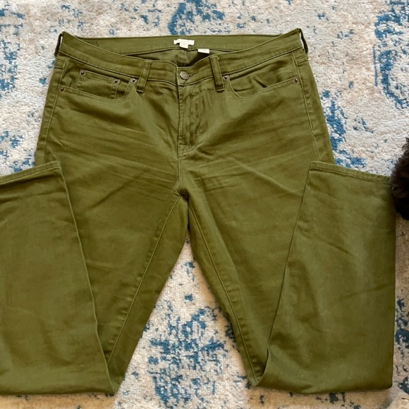 J Crew stretch, toothpick olive green jeans